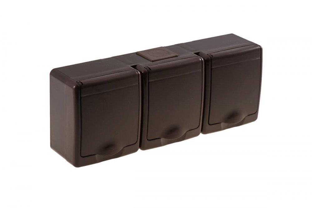 3fach steckdose aufputz montage braun feuchtraum ip44 16a 250v 6 05. Black Bedroom Furniture Sets. Home Design Ideas