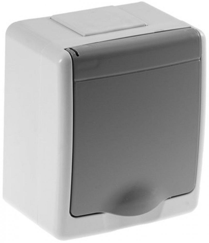 aufputz steckdose 1 fach mit klappdeckel ip44 grau selbstdichtend. Black Bedroom Furniture Sets. Home Design Ideas