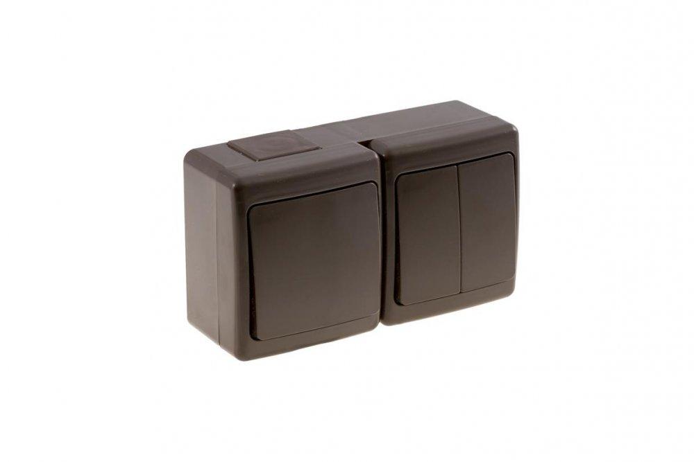 schalter steckdosen kombination mit klappdeckel aufputz ip44 grau aw tools 5 95. Black Bedroom Furniture Sets. Home Design Ideas