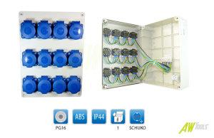 Stromverteiler Steckdosenverteiler Baustromverteiler 12  x 230 V/16A Schuko verdrahtet