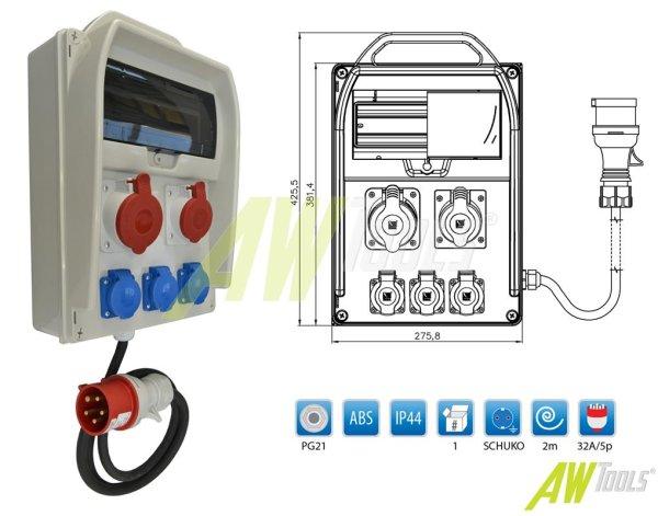 Baustromverteiler 1 x CEE 32A  1 x CEE 16A  3 x 230 V verdrahtet + 2m Leitung