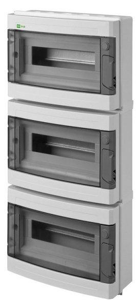 Sicherungskasten IP65 Verteilerkasten Aufputz AP Feuchtraum Unterverteilung LUX-PLUS-RN 39 Module 3reihig