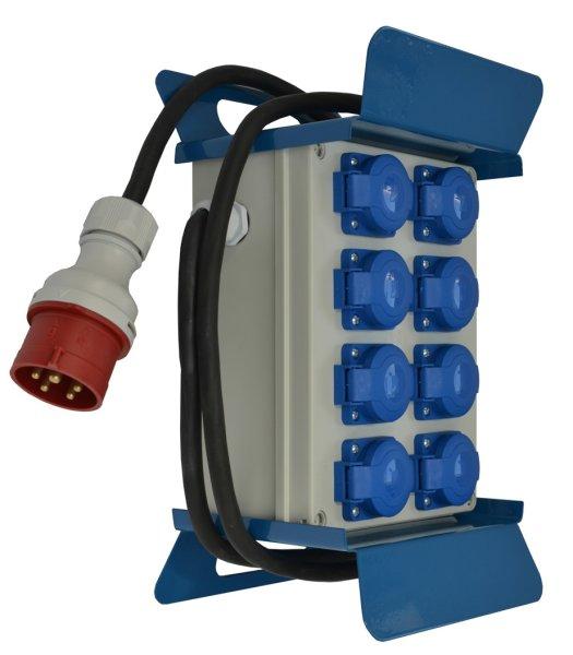 Baustromverteiler mobil komplett  8  x Schuko 230 V /16A  incl.  2m Kabel CEE16A/400V