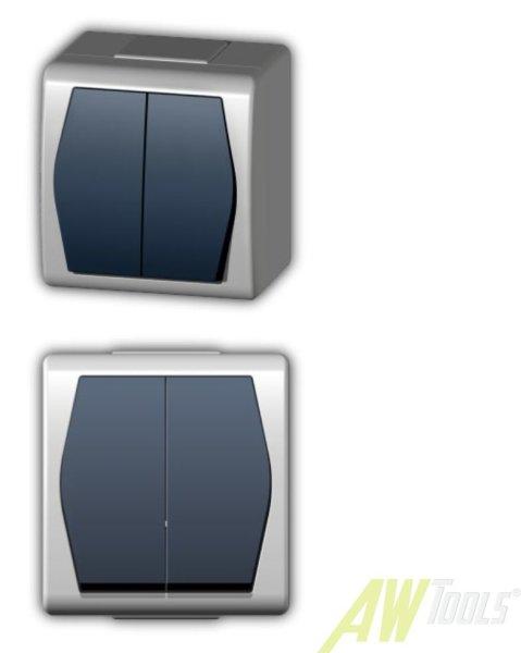 Moderner Aufputz Serienschalter Serie Hermes 2 -  IP 44  weiss / schwarz