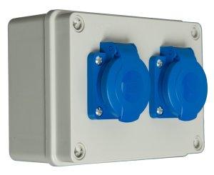 Baustromverteiler/Kleinverteiler / Wandverteiler 2 x Schuko 230 V verdrahtet