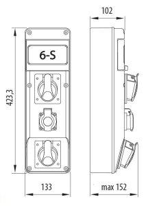 Baustromverteiler Wandverteiler 1 x CEE16A/400V + 2 x Schuko 230V  verdrahtet incl. Hager LS
