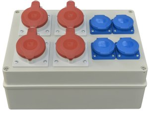 Baustromverteiler Wandverteiler 4 x CEE 16A/400V  4 x 230V/16A  vorverdrahtet