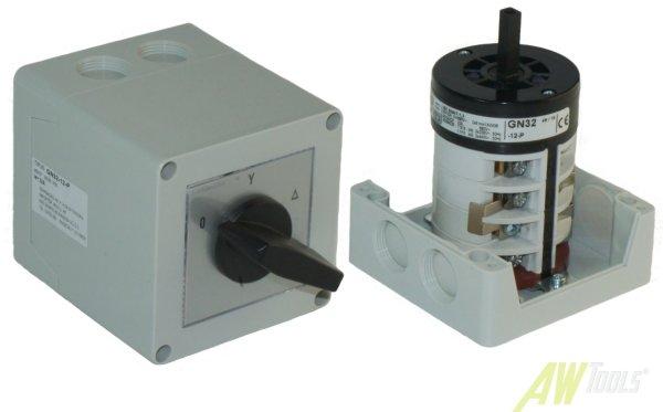 32A Stern-Dreieck-Schalter 32A gekapselt 11 kW IP65 Industrieschalter  GN 32-12-P