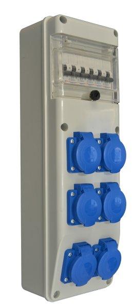 Baustromverteiler Wandverteiler 6 x 230V//16A Schuko LS verdrahtet