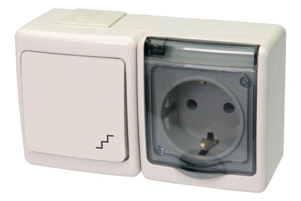 Wechselschalter / Steckdose Kombination mit Klappdeckel Aufputz IP44 weiß/transparent