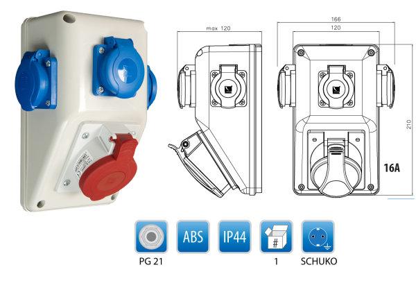 CEE-Wandsteckdose Wandverteiler 1 x CEE 16A/400 + 3 x 250 V/16A Schuko vorverdrahtet