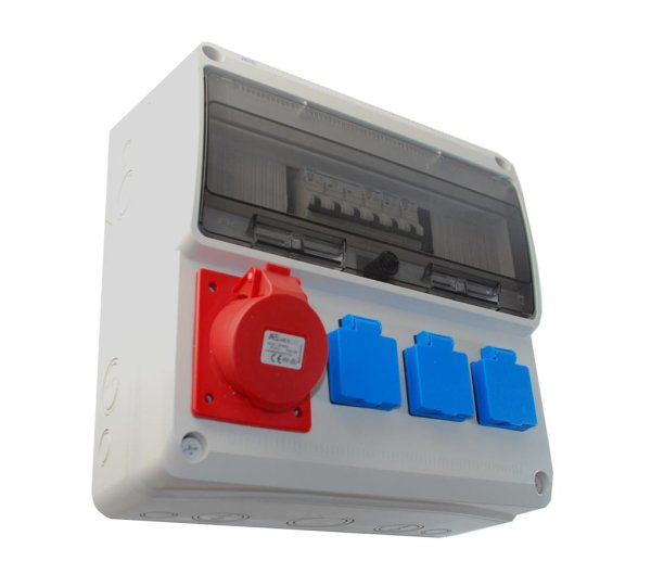 ELO 16/32 Baustromverteiler / Wandverteiler 1 x CEE 16A + 3 x 230V/16A inkl. LS nicht verdrahtet