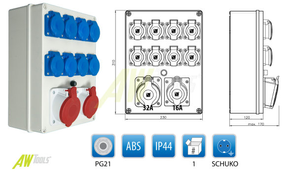 Baustromverteiler / Wandverteiler 1 x CEE 16A/400V + 1 x CEE 32A/400V + 8 x 16A/230V Schuko verdrahtet