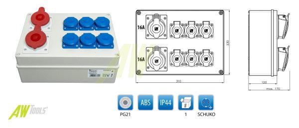Baustromverteiler / Wandverteiler 2 x CEE 16A/400V + 6 x 16A/230V Schuko verdrahtet