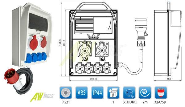 Baustromverteiler 1 x CEE 32A + 1 x CEE 16A +  4 x Schuko 230V verdrahtet + LEGRAND LS + Zuleitung
