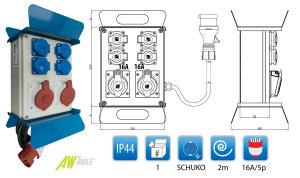 Baustromverteiler mit Standfuß & Griff 2 x CEE 16A & 4 x Schuko 230V verdrahtet komplett mit Zuleitung
