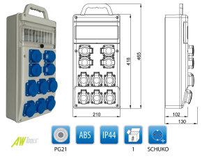 Baustromverteiler / Wandverteiler 10 x 230 V Schuko verdrahtet mit Griff