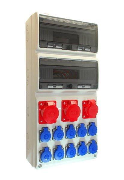 Baustromverteiler Wandverteiler 2 x CEE 32A  + 1 x CEE 16A +  10 x 230 V Schuko verdrahtet IP44