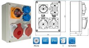 Schaltbarer Baustromverteiler 1 x CEE 32A + 1 x CEE 16A + 2 x Schuko 230V/16A verdrahtet + Thermoschalter