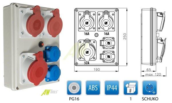 Baustromverteiler 1 x CEE 32A + 2 x CEE 16A + 2 x Schuko 230V/16A verdrahtet + Thermoschalter