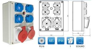 Baustromverteiler 1 x CEE 32A + 1 x CEE 16A + 4 x Schuko 230V/16A verdrahtet + Thermoschalter