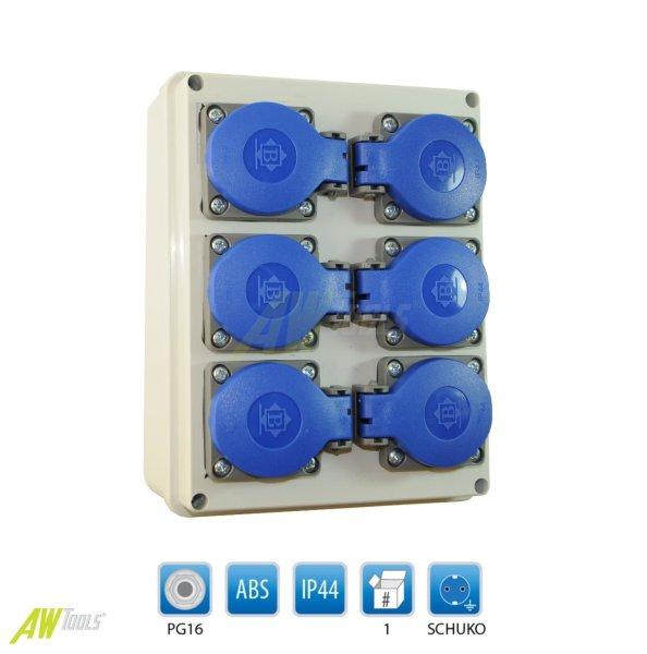 Baustromverteiler / Wandverteiler / Stromverteiler 6 x 230V/16A Schuko verdrahtet