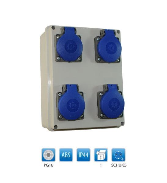 Baustromverteiler / Wandverteiler / Stromverteiler 4 x 230V/16A Schuko verdrahtet
