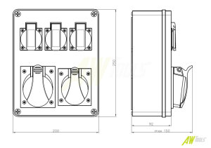Baustromverteiler / Wandverteiler 1 x CEE 32A  1 x CEE16A  3 x 230V verdrahtet + Thermoschalter