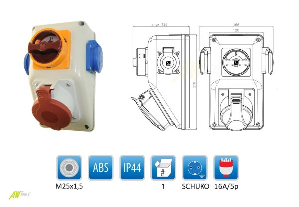 Baustromverteiler / Wandverteiler mit Wendeschalter für Rechts- und Linkslauf 1 x CEE 16A + 2 x 230 V/16A verdrahtet