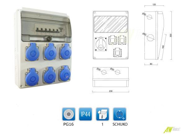 Baustromverteiler / Wandverteiler 6 x 230V/16A Schuko & LEGRAND LS & RCCB (FI) verdrahtet