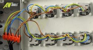 Mobiler Baustromverteiler / Standverteiler 8 x 230V/16A Schuko komplett verdrahtet 1,5m Zuleitung & Haltegriff