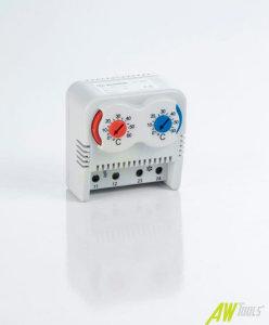 2-fach Thermostat f. Hutschiene Öffner Schließer Rot / Blau 0-60°C Schaltschrank Temperatur Regulierung