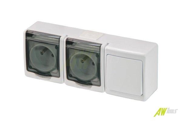 Wechsel-Schalter u. 2-fach Steckdose mit Klappdeckel Aufputz IP44 weiß/transparent Feuchtraum
