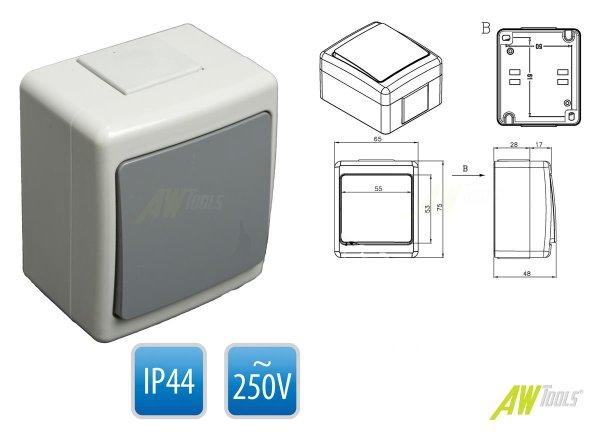 Aufputz Taster grau IP44 selbstdichtend für den Außenbereich