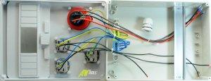 Baustromverteiler / Wandverteiler 3 x Schuko 230V/16A & 1 x CEE 16A/400V verdrahtet o. Sicherung