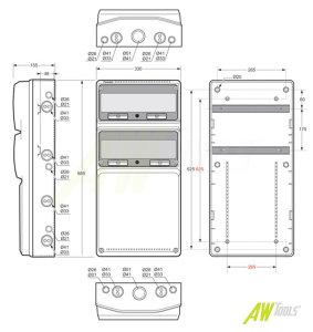 Baustromverteiler Wandverteiler 1 x CEE 32A  + 2 x CEE 16A + 10 x 230 V Schuko verdrahtet IP44