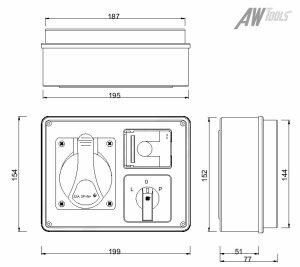 Baustromverteiler / Wandverteiler 1 x 230V/16A & 1 x CEE 32A/400V verdrahtet Phasenwender schaltbar
