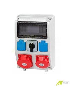 Baustromverteiler Wandverteiler 2 x Schuko 230V/16A & 2 x CEE 16A/400V Hauptschalter verdrahtet o. Sicherung