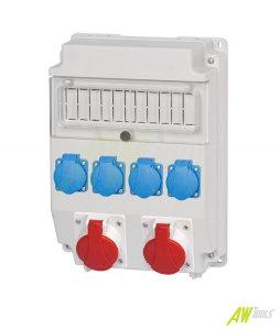 Baustromverteiler Wandverteiler 4 x Schuko 230V/16A & 1 x CEE 16A/400V & 1 x CEE 32A/400V verdrahtet o. Sicherung