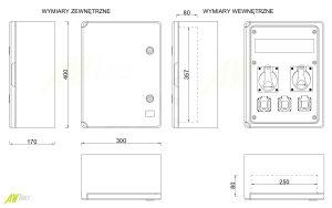 Baustromverteiler / Wandverteiler IP65 3 x 230V/16A Schuko & 2 x CEE 16A/400V verdrahtet o. Sicherung