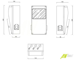Baustromverteiler / Wandverteiler 1 x CEE 16A/400V + 2 x 230V Schuko + LEGRAND LS verdrahtet