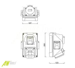 Baustromverteiler / Wandverteiler 3 x Schuko 230V/16A & 1 x CEE 32A/400V verdrahtet
