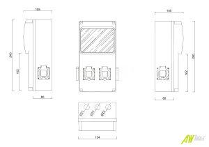 Baustromverteiler / Wandverteiler 4 x 230V/16A Schuko + LEGRAND LS und FI verdrahtet