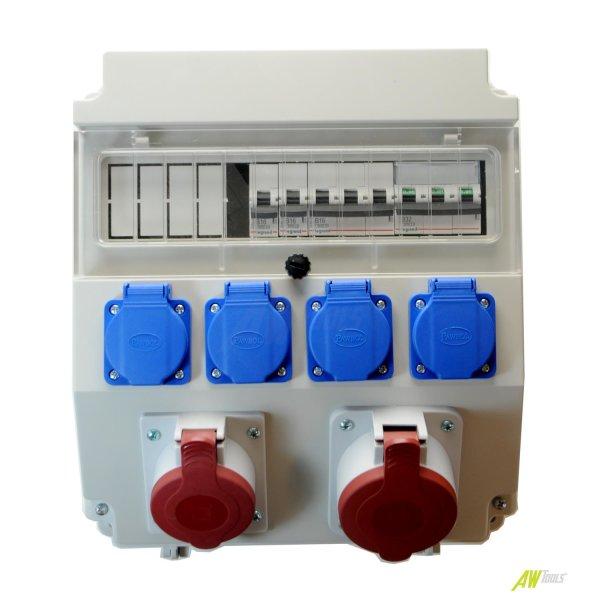 Baustromverteiler / Wandverteiler 1  x CEE16A/400V + 1 x CEE32A/400V + 4 x 230V/16A + LEGRAND LS verdrahtet