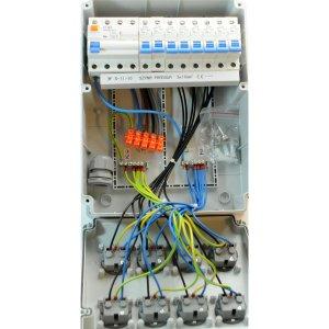 Baustromverteiler / Wandverteiler 8 x 230V/16A Schuko + LS und FI 4-polig verdrahtet