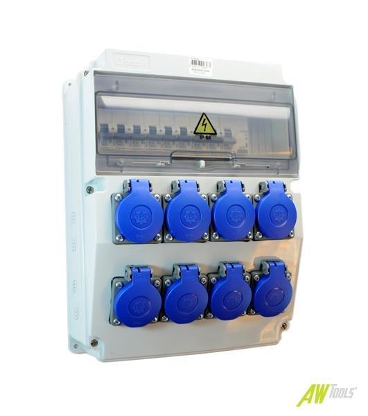 Baustromverteiler / Wandverteiler 8 x 230V/16A Schuko + LEGRAND LS und FI verdrahtet