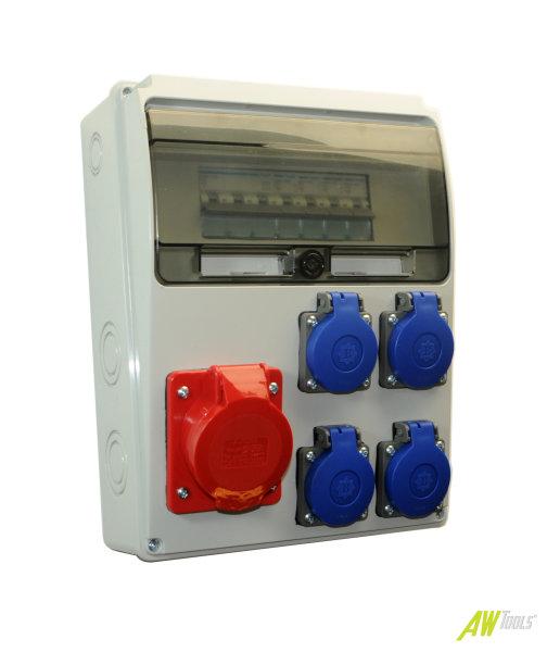 Baustromverteiler / Wandverteiler 4 x 230V/16A Schuko + 1 x CEE16A/400V + HAGER LS verdrahtet