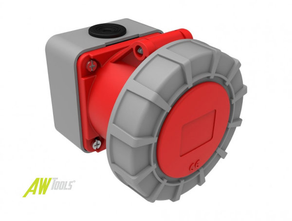 CEE Wandsteckdose  32A/400V 5-polig 6h IP67 Oberflächenmontagesteckdose Starkstrom Drehstrom 95x95mm Aufputz