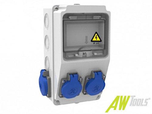 Baustromverteiler Wandverteiler 4 x 230V/16A Schuko IP44 verdrahtet ohne Sicherung