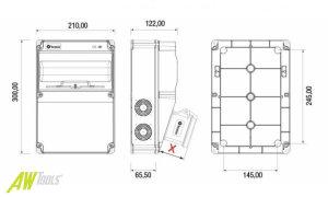 Baustromverteiler Wandverteiler 2 x 230V/16A Schuko + CEE16A/400V IP44 ohne Sicherung nicht verdrahtet